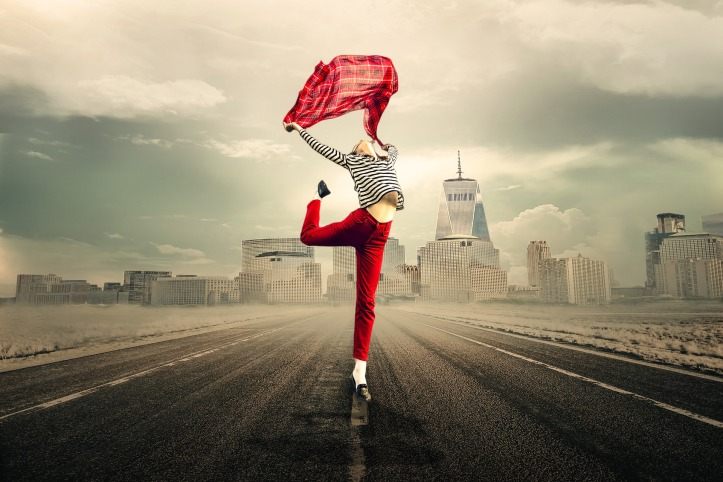 Red dancer in city